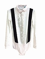 cheap -Figure Skating Top Men's Ice Skating Top White Spandex Micro-elastic Professional Skating Wear Sequin Long Sleeve Figure Skating