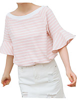 cheap -Women's Going out Cotton T-shirt - Striped