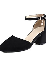 cheap -Women's Shoes PU(Polyurethane) Summer Ankle Strap Heels Chunky Heel Round Toe Black / Beige