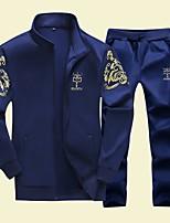 abordables -Homme Col Ras du Cou Tee-shirt de Course / Pantalons de Course - Noir, Bleu, Gris Des sports Graphique Ensemble de Vêtements Manches