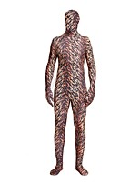 cheap -Patterned Zentai Suits / Cosplay Costume Zentai Cosplay Costumes Brown Animal Fur Pattern Spandex Lycra / Elastic Unisex Halloween / Carnival / Masquerade