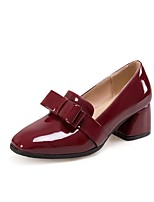 cheap -Women's Shoes Patent Leather Fall & Winter Basic Pump Heels Chunky Heel Square Toe Bowknot Black / Burgundy