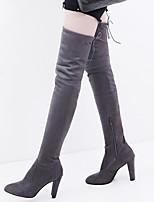Недорогие -Жен. Ботинки На толстом каблуке Микроволокно Ботинки Наступила зима Черный / Винный / Серый