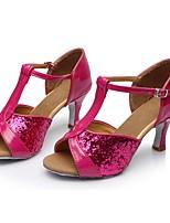 baratos -Mulheres Sapatos de Dança Latina Couro Envernizado Sandália / Salto Recortes Salto Cubano Personalizável Sapatos de Dança Vermelho