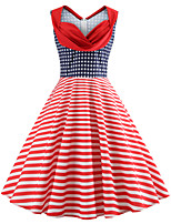 cheap -Audrey Hepburn Polka Dots Retro Vintage 1950s Dress Party Costume Women's Costume Red Vintage Cosplay Party / Evening Homecoming Sleeveless