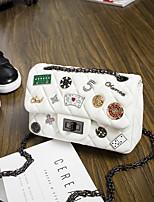 economico -borsa da donna in nappa tracolla modello / stampa / bottoni rosa acceso / bianco / blu