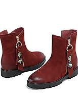 cheap -Women's Shoes Cowhide Winter Comfort Boots Low Heel Black / Wine