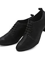 preiswerte -Damen Schuhe für modern Dance Nappaleder Sneaker Rüsche Kubanischer Absatz Maßfertigung Tanzschuhe Schwarz
