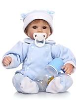 Недорогие -NPKCOLLECTION Куклы реборн Мальчики 18 дюймовый Силикон - Искусственная имплантация Коричневые глаза Детские Мальчики Подарок