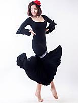 abordables -Danza del Vientre Vestidos Mujer Entrenamiento / Rendimiento Modal Diseño / Estampado / Fruncido / Combinación Media Manga Cintura Media Vestido