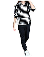 cheap -Kids Girls' Black & White Striped Long Sleeve Clothing Set
