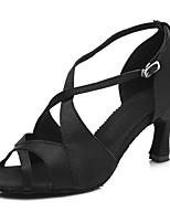 abordables -Femme Chaussures Latines Satin Sandale / Talon Boucle Mince haut talon Personnalisables Chaussures de danse Noir