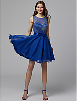 cheap -A-Line Boat Neck Short / Mini Tulle Cocktail Party / Homecoming Dress with Beading by TS Couture®