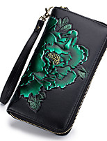 cheap -Women's Bags Cowhide Wallet Zipper / Embossed Gold / Green / Red