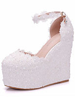 cheap -Women's Shoes PU(Polyurethane) Fall & Winter D'Orsay & Two-Piece Wedding Shoes Wedge Heel Round Toe Pearl / Buckle White