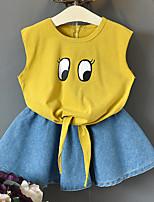 economico -Bambino (1-4 anni) Da ragazza Tinta unita / Con stampe Senza maniche Completo