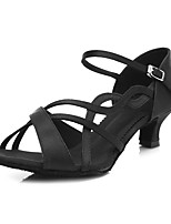 cheap -Women's Latin Shoes Satin Sandal / Heel Buckle / Lace Side Slim High Heel Customizable Dance Shoes Black