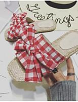 Недорогие -Жен. Обувь Полотно Лето Удобная обувь Тапочки и Шлепанцы На плоской подошве Открытый мыс Бант Черный / Красный
