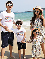 cheap -Family Look Color Block Short Sleeve Clothing Set