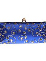 Недорогие -Жен. Мешки Satin Вечерняя сумочка Кристаллы Синий / Золотой / Зеленый