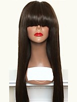 cheap -Virgin Human Hair Lace Front Wig Wig Brazilian Hair Straight Layered Haircut 180% Density Natural Hairline / With Bangs Black Women's Long Human Hair Lace Wig