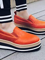 abordables -Mujer Zapatos Piel Sintética Primavera verano Confort Zapatillas de deporte Media plataforma Punta cerrada Negro / Naranja