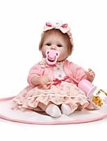 Недорогие -NPKCOLLECTION Куклы реборн Дети 18 дюймовый Силикон - как живой, Искусственные имплантации Голубые глаза Детские Девочки Подарок