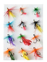 cheap -12 pcs pcs Flies / Lure kits / Fishing Hooks Flies Feathers / Carbon Steel Wear-Resistant / Easy Install / Easy to Carry Fly Fishing / Bait Casting / Freshwater Fishing