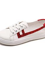 abordables -Mujer Zapatos PU Primavera verano Confort Zapatillas de deporte Paseo Tacón Plano Dedo redondo Lentejuela Negro / Plata / Rojo
