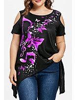 cheap -Women's Plus Size Cotton T-shirt - Floral
