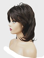 cheap -Synthetic Wig Matte Middle Part Synthetic Hair 100% kanekalon hair Dark Brown Wig Women's Mid Length Capless