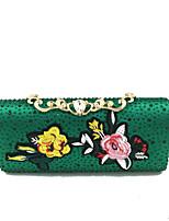 cheap -Women's Bags Satin Evening Bag Crystals Green