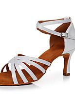 cheap -Women's Latin Shoes Satin Sneaker Slim High Heel Customizable Dance Shoes White