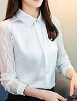 cheap -women's going out shirt - solid colored shirt collar