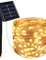 abordables -KWB 4x5M Guirlandes Lumineuses 200 LED 1Set Support de montage Blanc Chaud / Blanc / Bleu Solaire / Imperméable / Décorative Alimentation Solaire 1set