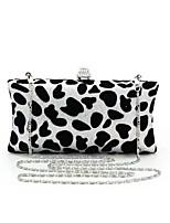 cheap -Women's Bags PVC(PolyVinyl Chloride) / Metal Evening Bag Crystals Black / White