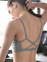 cheap -Women's Open Back Bra Top - Gray, Blue, Dark Navy Sports Spandex Sports Bra Yoga, Pilates, Exercise & Fitness Activewear Quick Dry, Wearable, Breathable Stretchy