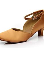 preiswerte -Damen Schuhe für modern Dance Satin Absätze Starke Ferse Tanzschuhe Schwarz / Koffee