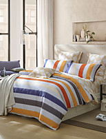 cheap -Duvet Cover Sets Stripes / Ripples 100% Supima Cotton Printed 4 Piece