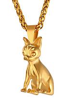 baratos -Homens Longas Colares com Pendentes - Inoxidável Cachorros Fashion Dourado, Preto, Prata 55 cm Colar 1pç Para Presente, Diário