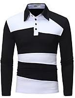 Недорогие -Муж. Polo Хлопок, Рубашечный воротник Контрастных цветов / Пожалуйста, выбирайте изделие на размер больше вашего обычного размера / Длинный рукав