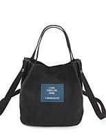 cheap -Women's Bags Canvas Shoulder Bag Buttons Black / Dark Blue / Yellow