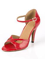 Недорогие -Жен. Обувь для латины Синтетика Кроссовки В мелкую точку Тонкий высокий каблук Танцевальная обувь Красный