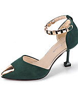 cheap -Women's Shoes Flocking / PU(Polyurethane) Summer D'Orsay & Two-Piece Heels Stiletto Heel Pointed Toe Black / Yellow / Green
