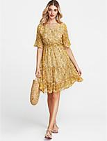 Недорогие -Жен. Уличный стиль Оболочка Платье - Цветочный принт Средней длины