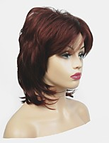 cheap -Synthetic Wig Matte Layered Haircut Synthetic Hair 100% kanekalon hair Burgundy Wig Women's Mid Length Capless