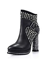 abordables -Femme Chaussures Cuir Automne hiver boîtes de Combat Bottes Talon Bottier Bout rond Bottes Mi-mollet Rivet Noir