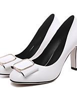 baratos -Mulheres Sapatos Couro Ecológico Primavera Conforto / Plataforma Básica Saltos Salto Robusto Branco / Verde