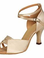 cheap -Women's Latin Shoes Satin Heel Slim High Heel Dance Shoes Gray / Almond / Performance / Leather / Practice