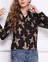 baratos -Mulheres Blusa - Trabalho Básico Estampado, Geométrica Algodão Colarinho de Camisa Delgado / Verão